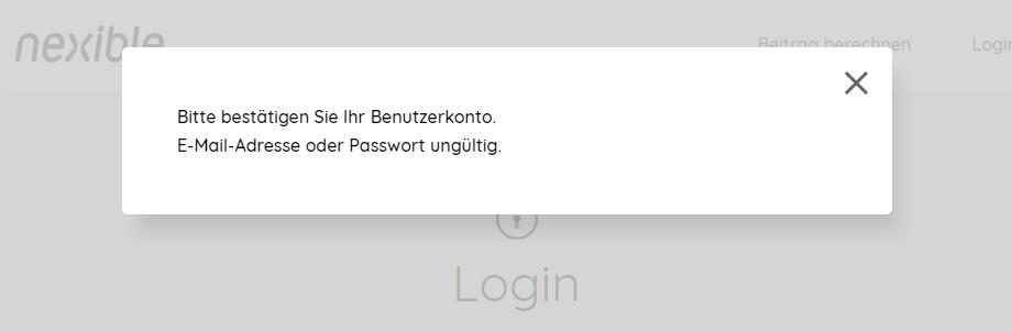 Bitte bestätigen Sie Ihr Benutzerkonto. E-Mail-Adresse oder Passwort ungültig.