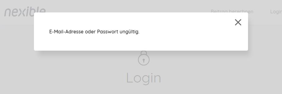 E-Mail-Adresse oder Passwort ungültig.