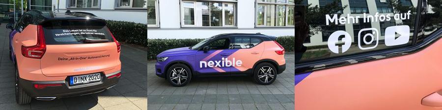 Eine Kollage des nexiCars (Firmenfahrzeug von nexible) ist zu sehen. Die Kollage zeigt das Auto einmal von hinten, der Seite und eine Scheibendarstellung, auf der die Social Media Kontakte angegeben sind.