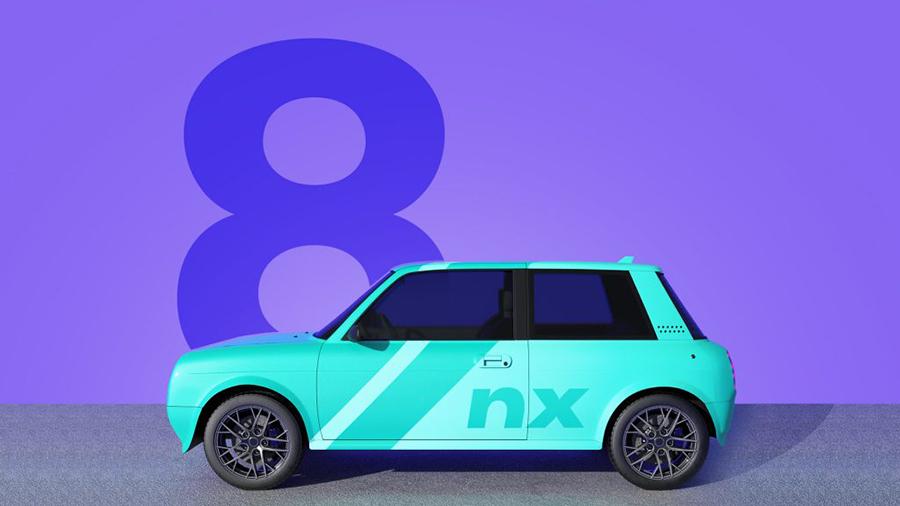 Grafik eines modernen Autos - im Hintergrund eine große acht.
