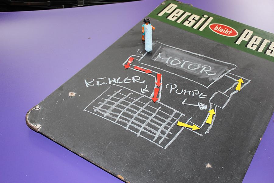 Funktion des Kühlsystems auf einer kleinen Tafel skizziert